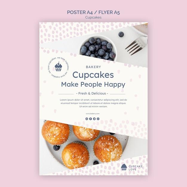 Plantilla de volante de deliciosos cupcakes PSD gratuito