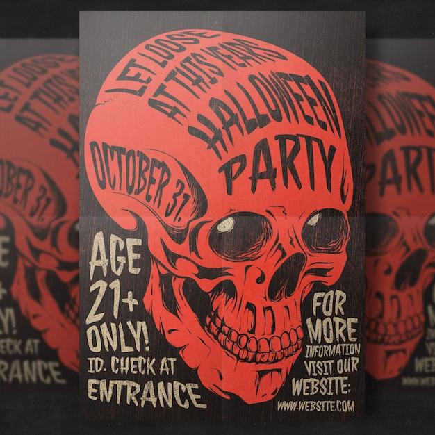 Plantilla de volante - fiesta de halloween de calavera PSD Premium