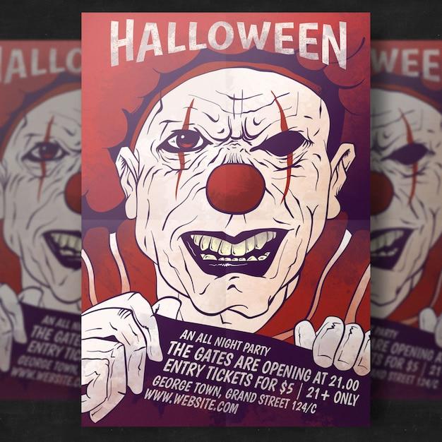 Plantilla de volante - fiesta de halloween espeluznante PSD gratuito