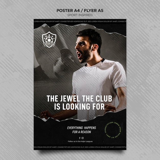 Plantilla de volante vertical para club de fútbol PSD gratuito
