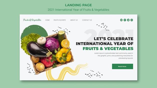 Plantilla web año internacional de frutas y verduras PSD gratuito