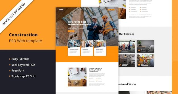 Plantilla web de construcción PSD Premium