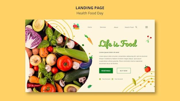 Plantilla web de página de destino del día de la alimentación saludable PSD gratuito