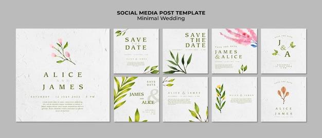Plantillas creativas de redes sociales para bodas PSD gratuito