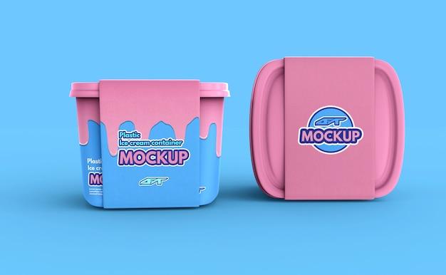 Plastic ijsbakdoosmodel Premium Psd