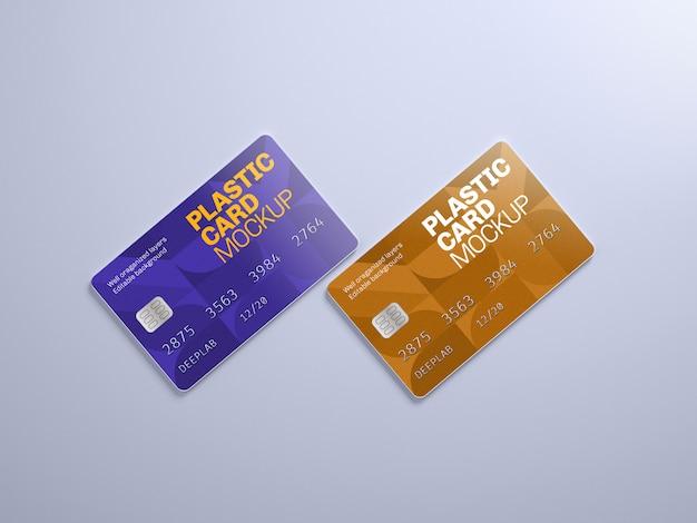 Plastic kaartmodel met bewerkbare achtergrondkleur Premium Psd