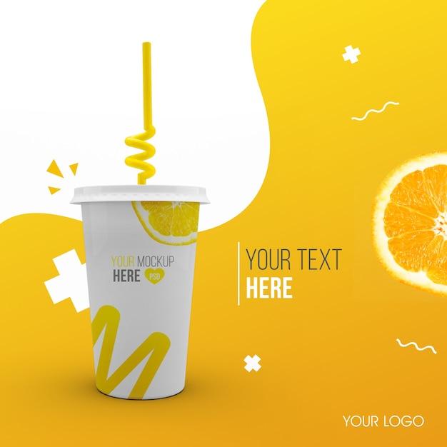 Plastic oranje beker mockup Premium Psd