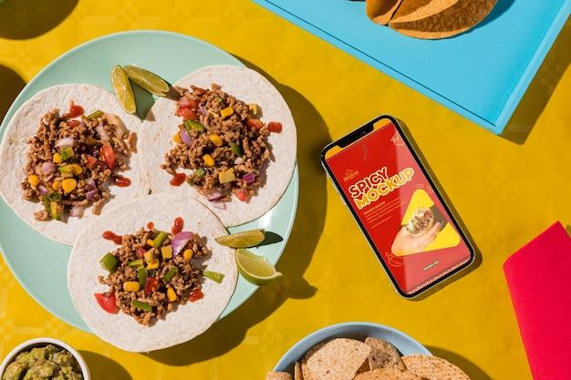 Plat lag heerlijke taco's op plaatmodel Gratis Psd