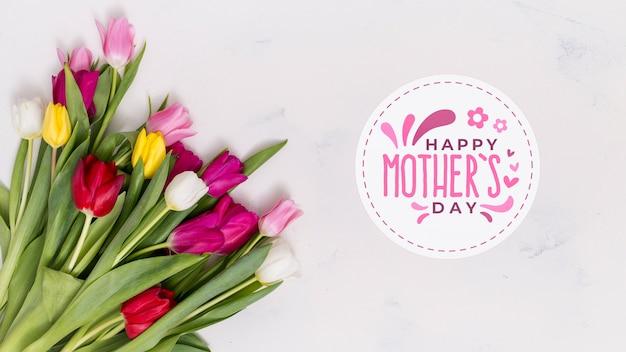 Plat lag moeders dag samenstelling met copyspace voor logo Gratis Psd