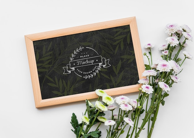 Plat lag mooi bloemen arrangement Gratis Psd