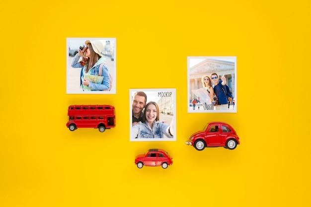 Plat lag reisconcept met autospeelgoed Gratis Psd