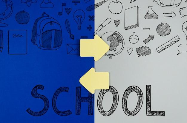 Plat lag terug naar school met kleurrijke achtergrond Gratis Psd