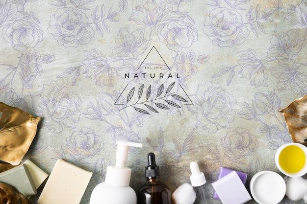 Plat lag van natuurlijke huidverzorging cosmetica Gratis Psd