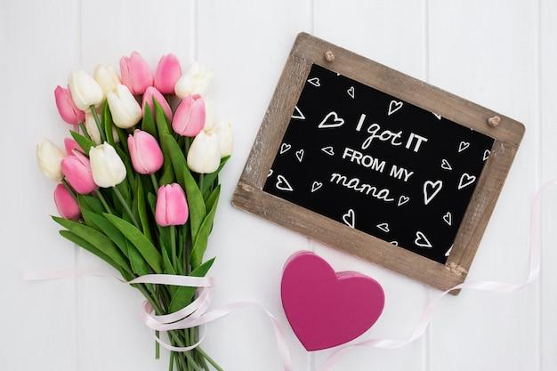 Plat leggen copyspace mockup voor moederdag Gratis Psd