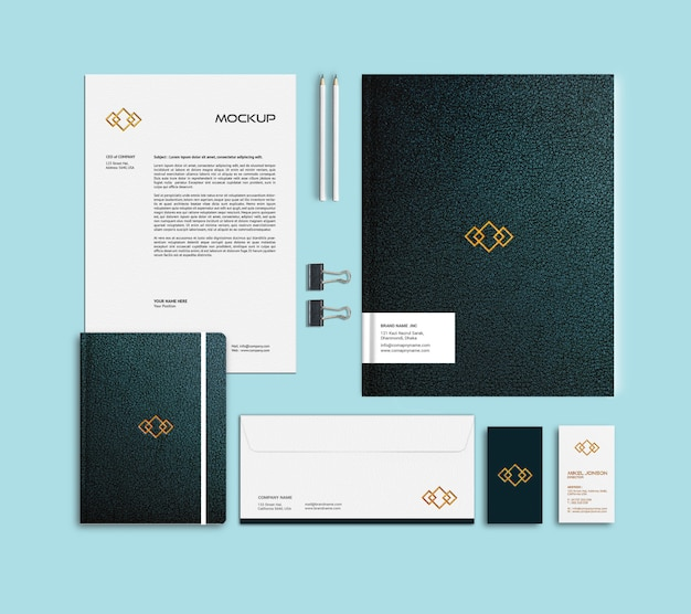 Plat leggen van branding briefpapier logo mockup Premium Psd