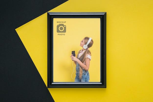 Plat leggen van rechthoekig frame voor foto's Gratis Psd
