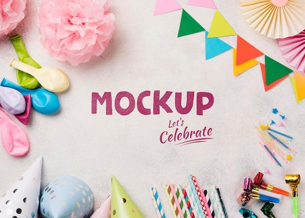 Plat leggen van verjaardag concept mock-up Premium Psd