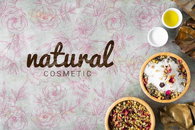 Plat van natuurlijke huidverzorgingscosmetica Gratis Psd