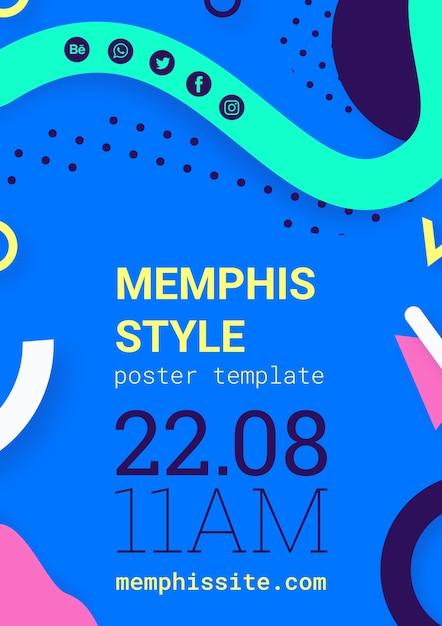 Platte blauwe memphis stijl poster Gratis Psd