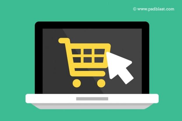 Platte laptop pictogram met het winkelwagentje Gratis Psd