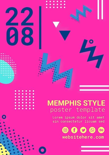 Platte roze memphis stijl poster Gratis Psd