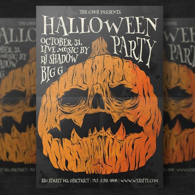 Pompoen Halloween Sjabloon.Pompoen Hoofd Halloween Partij Flyer Sjabloon Psd Bestanden
