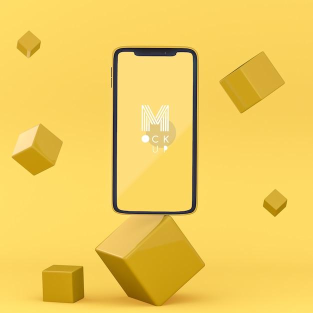 Pop 3d maqueta de teléfono amarilla PSD gratuito