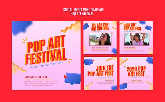Popart festival sociale media post-sjabloon Gratis Psd
