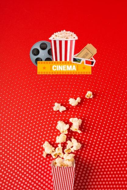 Popcorn papieren zak in bovenaanzicht Gratis Psd
