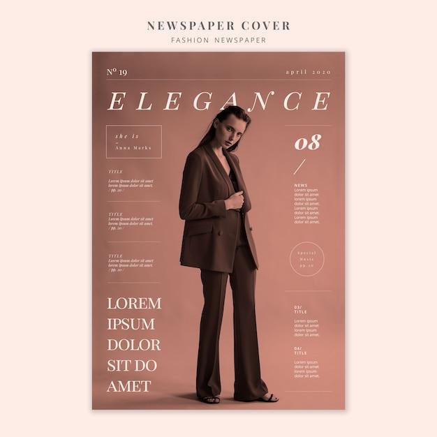 Portada de periódico de moda de mujer elegante de pie PSD gratuito