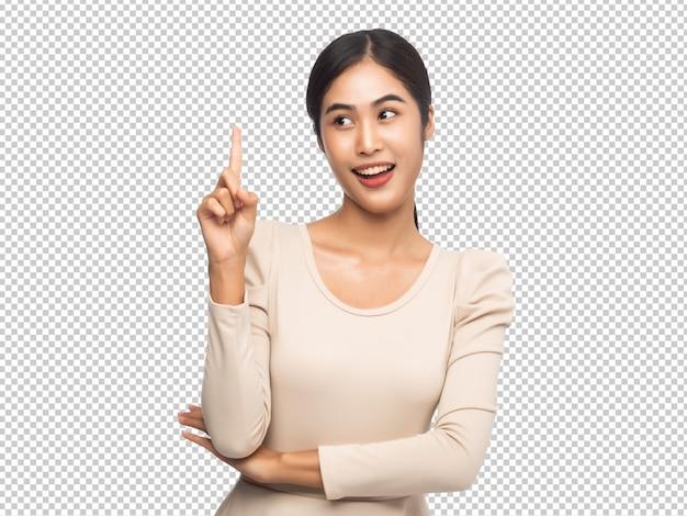 Portret dat van jonge aziatische vrouw benadrukt Premium Psd
