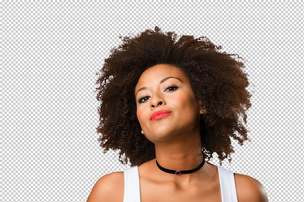 Portret van een jonge zwarte vrouw Premium Psd