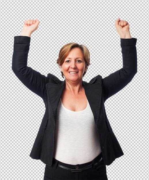 Portret van een rijpe bedrijfsvrouw die een overwinning viert Premium Psd
