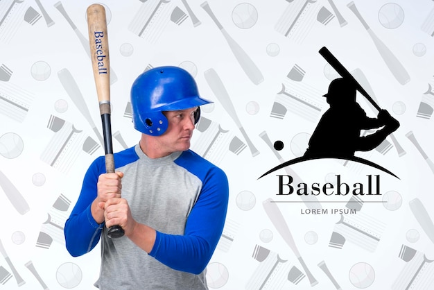 Portret van honkbalspeler met helm Gratis Psd