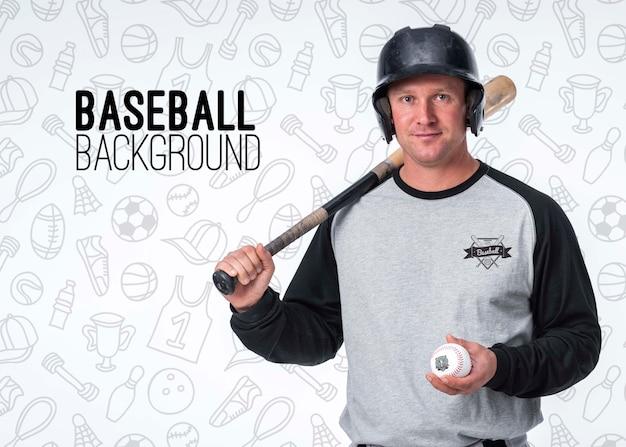 Portret van professionele honkbalspeler Gratis Psd