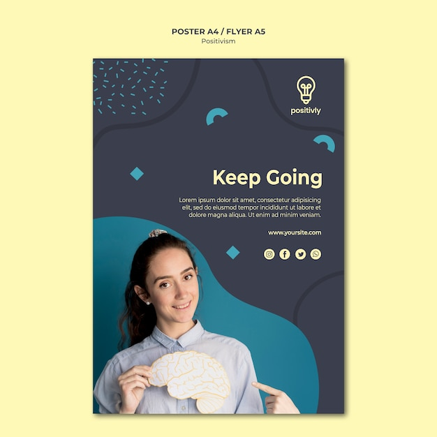 Positivisme concept poster sjabloon Gratis Psd