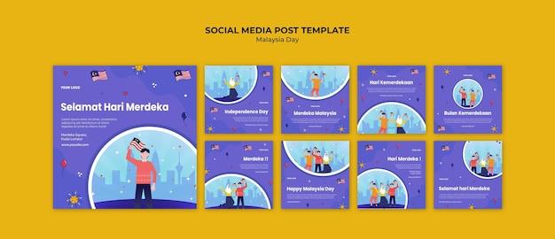 Post op sociale media voor de onafhankelijkheidsdag van maleisië Gratis Psd