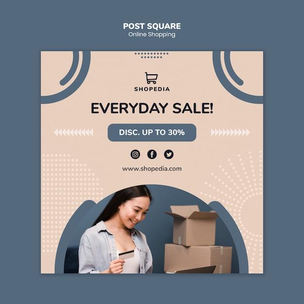 Post sjabloon met online winkelen concept Gratis Psd