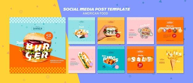Post-sjabloon voor amerikaans eten sociale media Gratis Psd