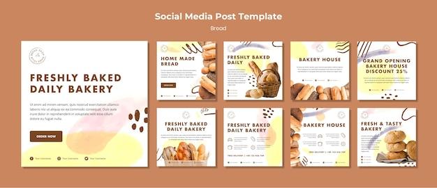 Post-sjabloon voor sociale media vers gebakken dagelijkse bakkerij Gratis Psd