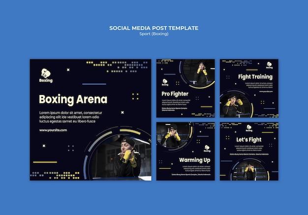 Post-sjabloon voor sociale media voor boksen Gratis Psd