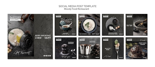 Post sui social media del ristorante moody food Psd Gratuite