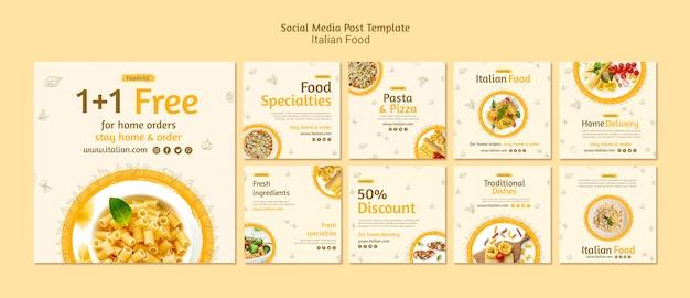 Post sui social media sul cibo italiano Psd Gratuite