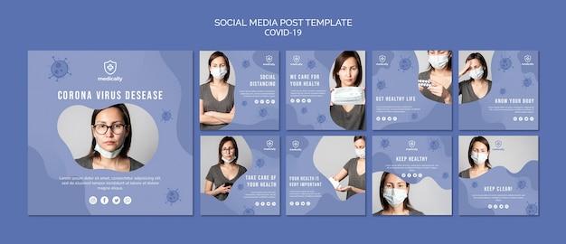 Posta d'uso di media sociali della maschera della donna Psd Gratuite