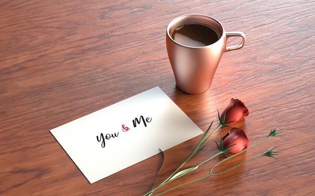Postal de san valentín con rosas y taza. PSD gratuito