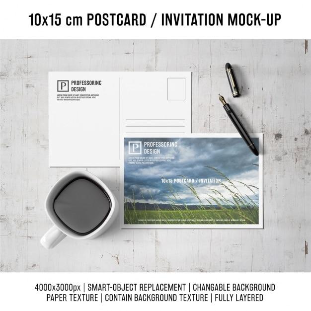 Postcard mock up di progettazione Psd Gratuite