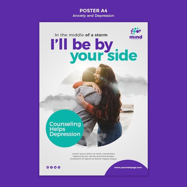 Poster angst en depressie advertentiesjabloon Gratis Psd
