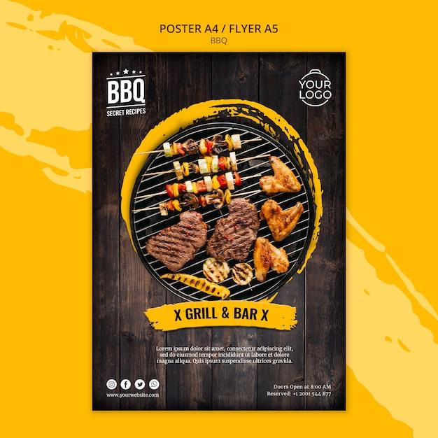 Poster concept sjabloon met bbq Gratis Psd