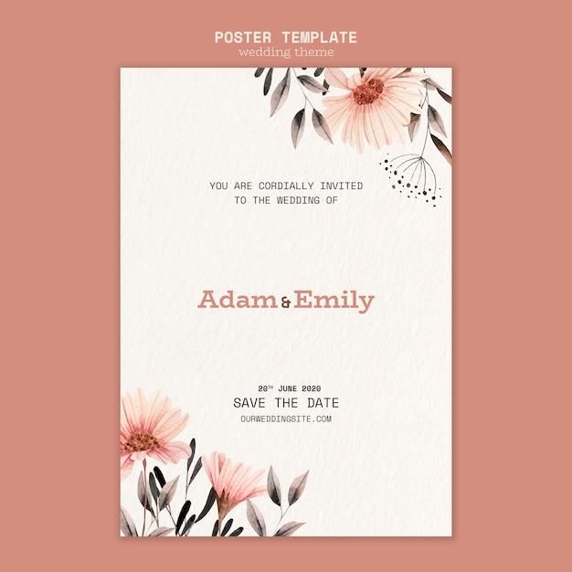 Poster concept voor bruiloft sjabloon Gratis Psd