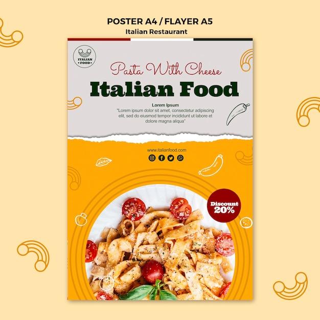 Poster di cibo italiano con promozione Psd Gratuite